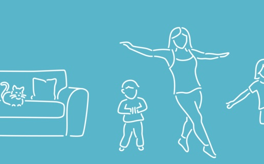 Mother and children exercising in living room