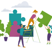 Working Together (puzzle pieces ladder)
