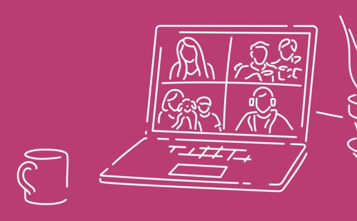 Illustration of a laptop screen showing a Skype call