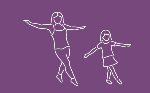Illustration of woman and girl exercising