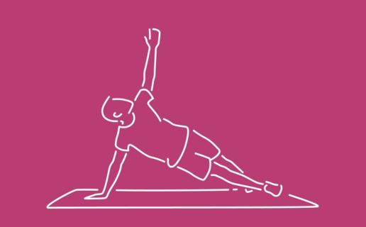 Illustration of man exercising on matt