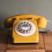 yellow retro telephone