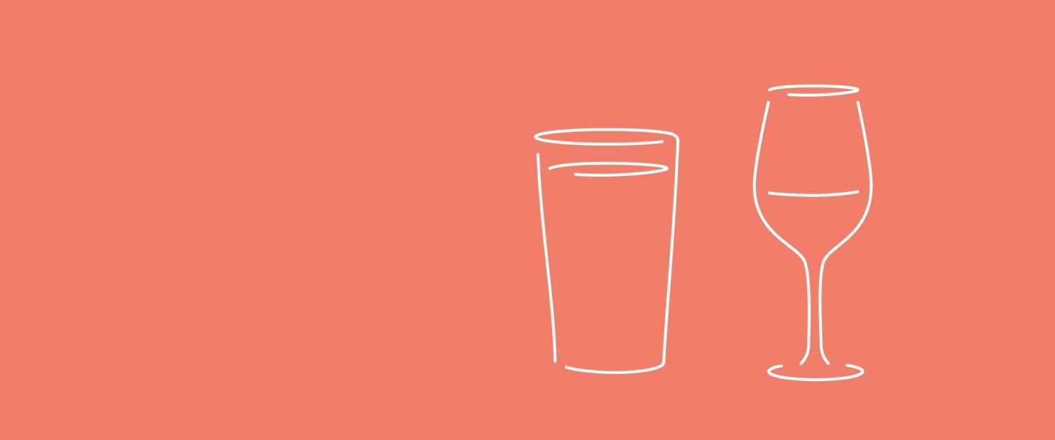 Illustration of a glass of wine and a pint glass