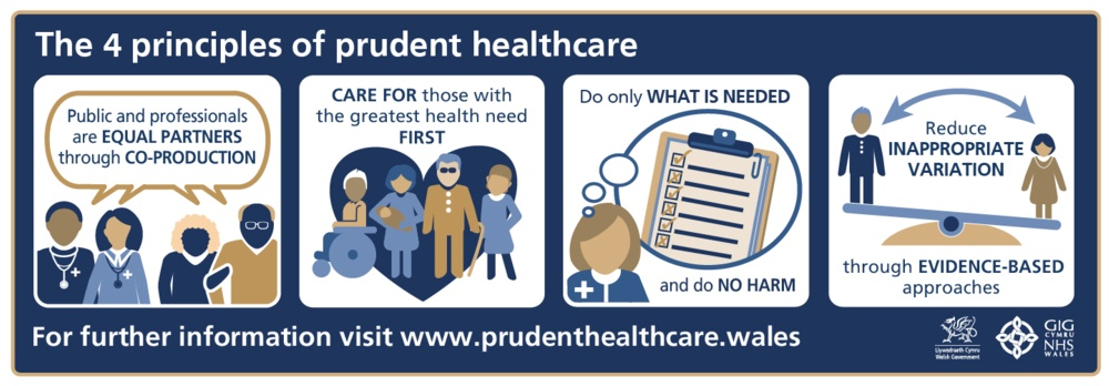 The image shows the 4 prudent healthcare principles – equal partners through co-production, care for those with the greatest need first, do only what is needed and reduce inappropriate variation through evidence based approaches.
