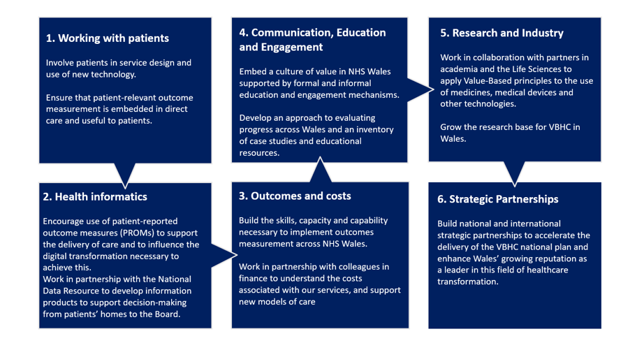 The image shows the Value in Health Programme's 6 core goals: working with patients, health informatics, outcomes and costs, communication and engagement, research and industry and strategic partnerships.