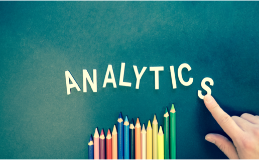The image shows the word analytics spelled out letter by letter