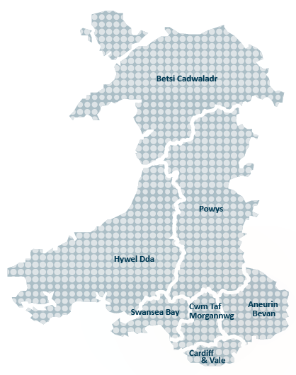The image shows a map of wales