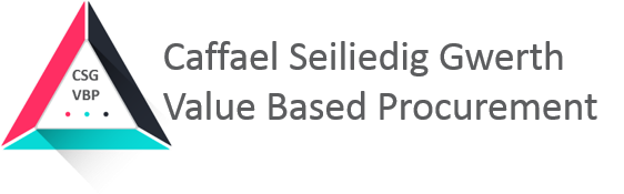 The image shows the logo for the Value Based Procurement team in the form of a triangle which includes welsh translation