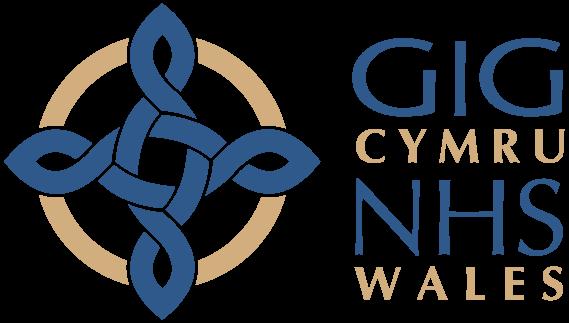 Mae'r ddelwedd yn dangos y logo ar gyfer GIG Cymru sy'n cynnwys cwlwm Celtaidd