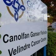 Velindre Cancer Centre front entrance sign